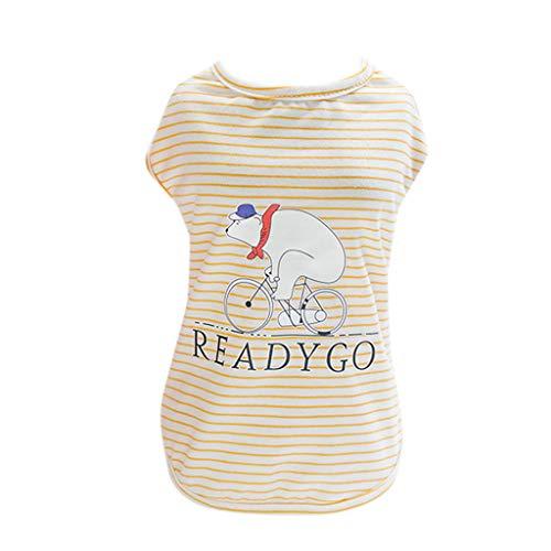 Hawkimin Haustier Weste, Sommer Frühling READYGO Kleine Weiße Bären Gestreift Baumwolle Ärmelloses T-Shirt Freizeitkleidung Welpen Hunde Kostüm Hündchen ()