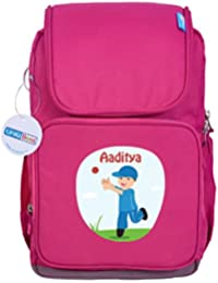 UniQBees Personalised School Bag With Name (Smart Kids Large School Backpack-Pink-Cricket 1)