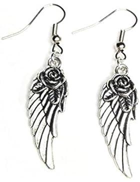 Ohrringe Flügel mit Rose - Antik Silber