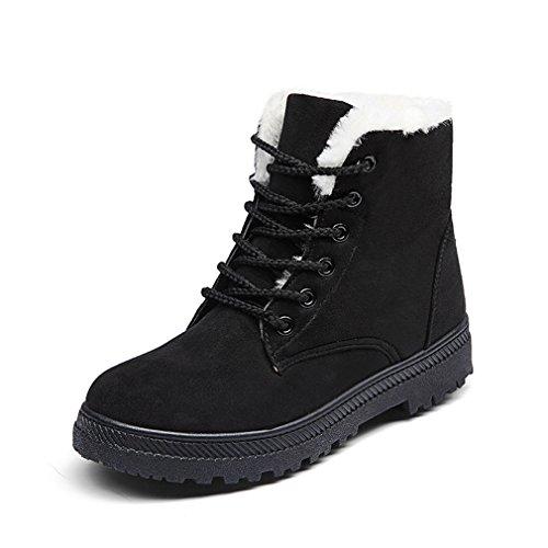 HENGSONG Donna Pelliccia Classico Inverno Autunno Neve Stivali Cotone Scarpe Snow Boots (EU39, Nero)