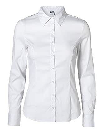 Vero Moda Damen Bluse 10074424 COUSIN PRINCESS LS SHIRT NOOS, Größe:L;Farbe:optical white (10074424)