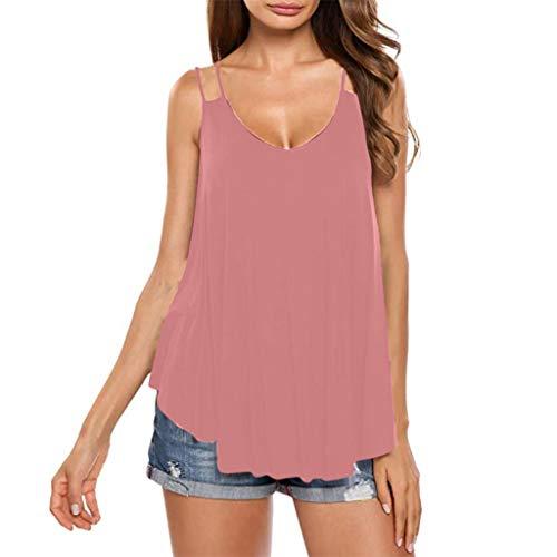 Gap Print Tank Top (Lässige Damenoberteile Langes T-Shirt mit unregelmäßigem Saum Einfarbige Schlinge Weste oben Bequeme Kleidung für zu Hause Strandkleidung Urlaub Reisehemd Tank Tops Sexy Oberteil)