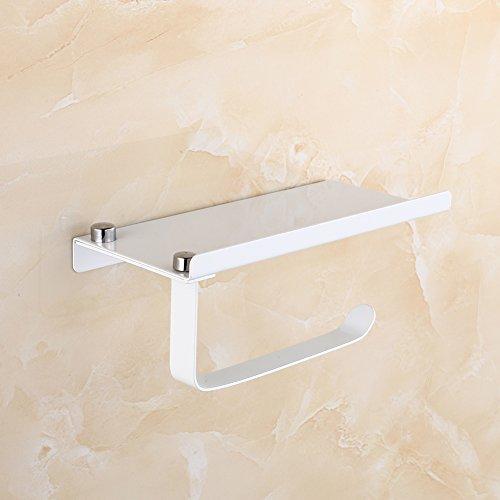 MElnN Toilettenpapierhalter mit Handyablage 304 Edelstahl Wandmontage WC Papierrollenhalter Badmontage, weiß, Free Size