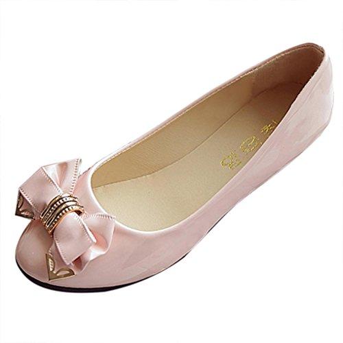 Siswong Femmes Slip Sur Ball Ballet Appartements Travail Décontracté École Chaussures Toe Talon Plat Ballerine Pompes Rose