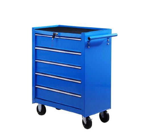 Carro caja de herramientas taller movil con 5 cajones 4 ruedas chapa de Acero Azul