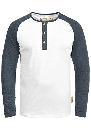 Button Down Long Sleeve Henley (Indicode Winston Herren Longsleeve Langarmshirt Shirt Mit Grandad-Ausschnitt, Größe:M, Farbe:Optical White (001))
