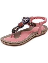 Sandalias Planas Tendón Antideslizante Cómodo Rhinestones Moldeados Zapatos de Mujer Salvaje