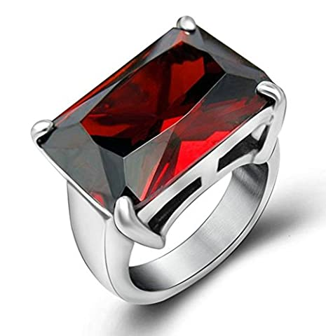 Gnzoe Jewelry, Stainless Steel Men's Ring Square Gem Fire Cast Ring Ruby Red Size 6