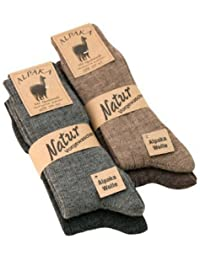 Alpaka Socken Wollsocken dünn Herren u. Damen mit Alpaka Wolle weich und warm, 1, 2 oder 4 Paar,