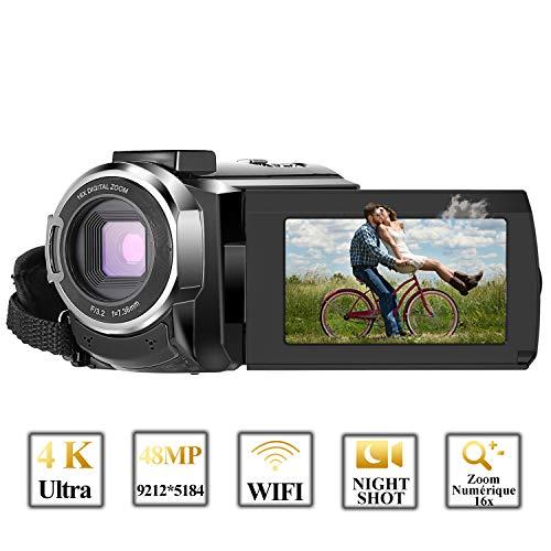 Caméscope 4K,FamBrow Caméra Vidéo WiFi 48MP IR Vision de Nuit 16 x Digital Zoom,Camescope Numerique 270 Degrés Rotatif Écran Tactile Camera Photo avec Mini Trépied