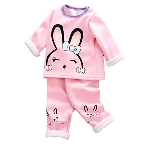 Set di pigiami per bambino, meedot 2 pezzi cotone manica lunga in inverno caldo indumenti da notte per bambini 0-4 anni pink rabbit 110cm