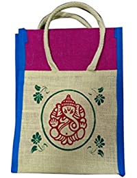 Madhura Vaishnavi Traders Ganesh Printed Blue & Green Color Eco Friendly Jute Shopping Bag
