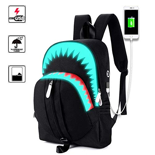 Househome luminoso zaino zainetto zaino a tracolla scuola bag borsa per pc portatile, unisex shark luminoso di libro satchel escursionismo borse