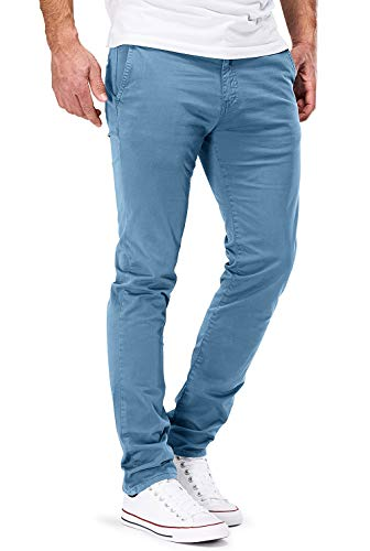 DSTROYED ® Chino Herren Slim fit Chinohose Stretch Designer Hose Neu 505 (33-30, 505 Hellblau) Vintage Washed Chino
