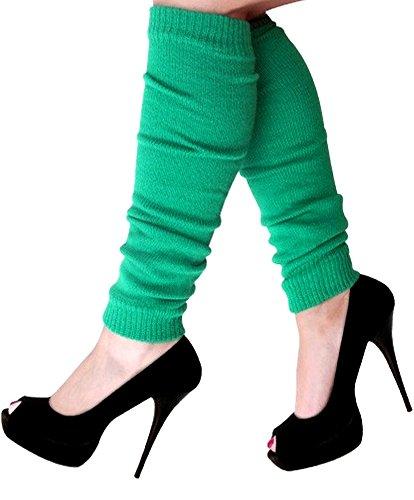 krautwear Damen Beinwärmer Stulpen Legwarmers Overknees gestrickte Strümpfe 80er Jahre 1980er Jahre, 1x Grün-dunkel, Einheitsgröße - 1980er-jahre Grün