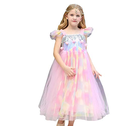 Prinzessin Kleid in 2 verschiedenen Farben - Kostüm für Kinder perfektes für Karneval & Cosplay (110cm-120cm, Rosa)