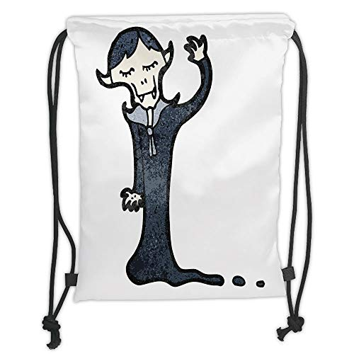 WTZYXS Drawstring Sack Backpacks Bags,Vampire,Retro Cartoon Old Character Silly Spooky Funny Doodle Grunge Hand Drawn Decorative,5 Liter Capacity,Adjustable.