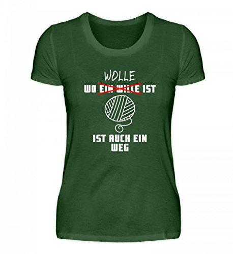 Shirtee Hochwertiges Damen Premiumshirt - Wo Wolle ist, ist ein Weg Dark Green