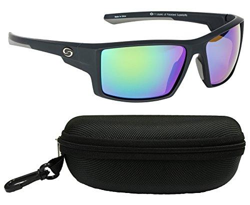 Strike King S11Optik Pickwick Polarisierte Sonnenbrille, Matte Black Frame/Multi Layer Green Mirror - Amber Base Lens