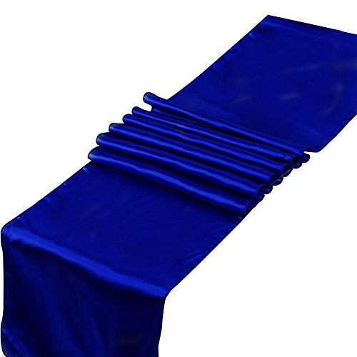 RayLineDo® Lot de 10 chemins de table satinés pour mariage, banquet 30,5 x 274,3 cm, bleu marine, 10