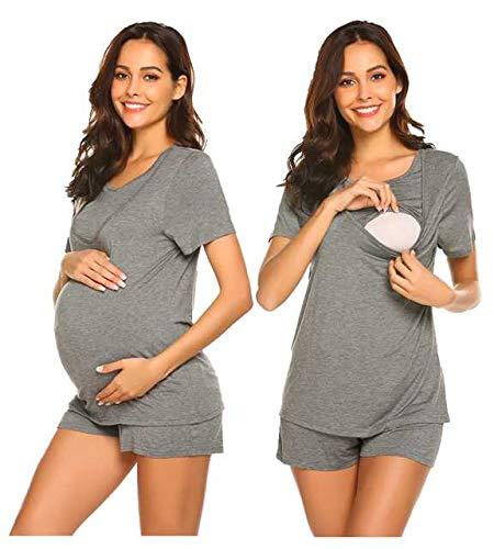 UNibelle Stillpyjama-Umstandspyjama-Schlafanzug Umstandspyjamas Stillshirt und Hose kurz Sommer Grau M