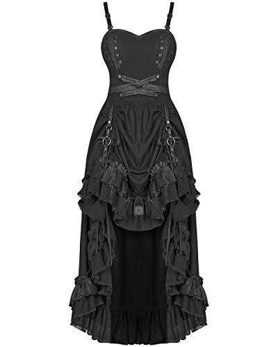 Punk Rave Steampunk Kleid Lang Schwarz Kunstleder Vintage Viktorianische Gothik Hitch Saum - Schwarz, 4XL - UK Womens Size ()