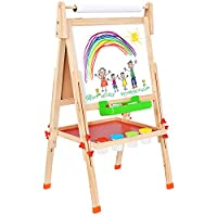 BATTOP Deluxe Wooden Art Easel Kids Double Sided for Children Toddlers