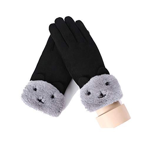 LOUMVE Damenhandschuhe Frauen Warme Handschuhe Winter Mode Handschuhe Touchscreen Schwarz Freie Größe