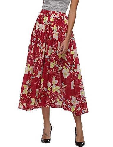 Abollria Damen Chiffon Rock Lange A-Linien Röcke Swing Maxirock mit Unterrock,Rot mit Blumen,S Chiffon Swing