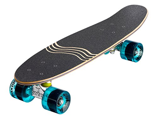 Ridge Skateboard Regal Series Laser Cut Mini Cruisers, Schwarz/Klar Blau, 22 Zoll, R -