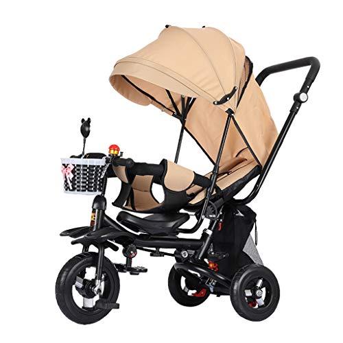 Dreiräder Dreirad One Button Faltbare 4 In 1 Hand Push Baby Regenschirm Kind Fahrrad 1-3-6 Jahre Alt Tragbare Fahrrad Kohlenstoffstahl Stabile Material 4 Farben (Color : Beige)