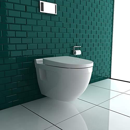Wand Hänge WC mit WC-Sitz inkl. Soft-Close Weiss Keramik Toilette mit Nano-Beschichtung Tiefspüler passend zu GEBERIT - 3