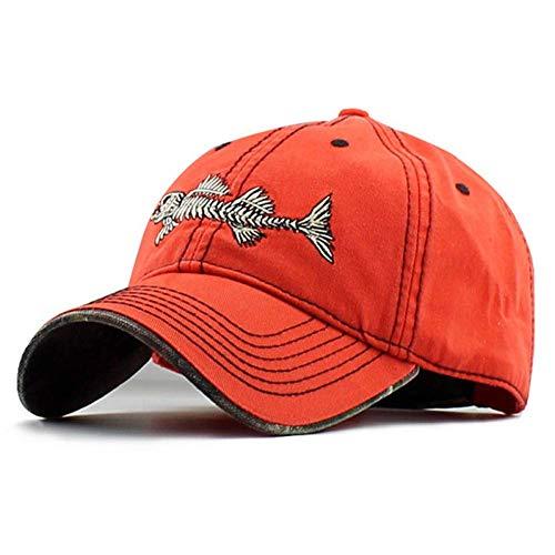 GONGFF Baseballmütze Gewaschene Baumwolle Beste Mütze Camo Fishmen Baseballmütze Einstellbare Gute Mütze Und Für Männer Und Frauen Persönlichkeit Hut (Farbe: Orange) -