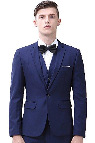 INFLATION Klassisch Slim Fit Schnitt Herren 3-Teilig Anzüge Anzugsuit Men's Suit Reine Farbe Casual Sakko Anzüge Smokings Anzugjacke+Weste+Anzughose 10 Farben verfügbar,Navy Blau,5XL (Anzug Navy Wolle)