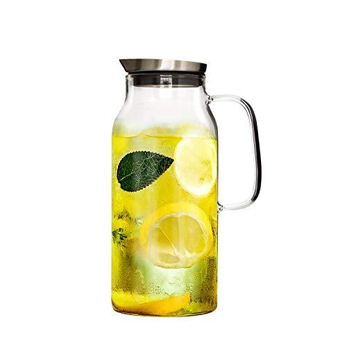 GOLDPOOL 2.0 Liter 70 Unzen Glas Krug karaffe mit Deckel Eistee Krug Wasserkrug Heißes Kaltes Wasser Eistee Wein Kaffee Milch und Saft Getränkekaraffe wasserkaraffe