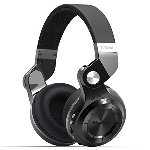 Bluedio T2+ (Turbine 2 plus) - Cuffie Bluetooth MP3 Integrato , Cuffie Wireless Senza Fili con Radio FM e Lettore MP3; Stereo / Extra Bass / Microfono Integrato per Cellulare, Nero