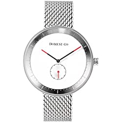 Domeni Co SSM01 Unisex Signature Series Stainless Steel Silver Mesh Bracelet Band White Dial Watch