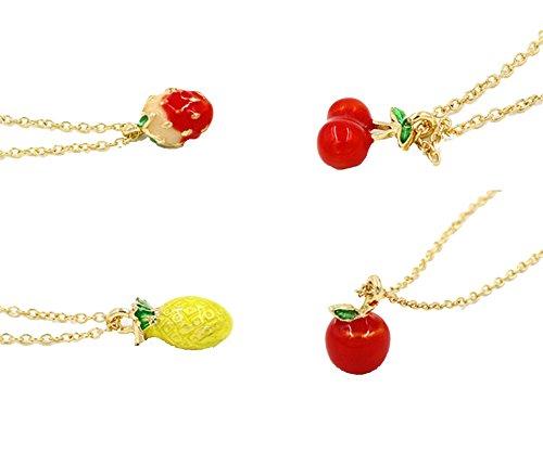 Moda Semplice Popolare Lega Fragola Ciliegia Mela Ananas Pendente Collana Set, Include 4 Collana Diverso - Fragola Collana