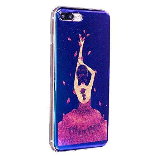iPhone 7 Plus Custodia Silicone, iPhone 7 Plus Cover TPU, JAWSEU Apple iPhone 7 Plus 5.5 Case Caso Bella Luminoso Floreale Brillante Blu Protezione Cristallo Trasparente Custodia Cover Antiurto Ultra  Ragazza Vestito Rosso