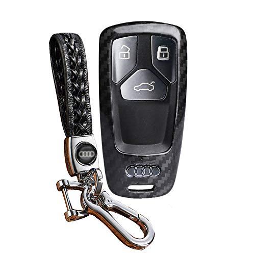 FancyAuto Auto Schlüsselhalter Leichte Dünne Kohlefaser Schlüsseletui Speziell für Audi 16 17 A4L A4 A5 TT S5 mit Webart Leder Schlüsselanhänger(Schwarz/Schwarz) (Audi A4 Leichter)