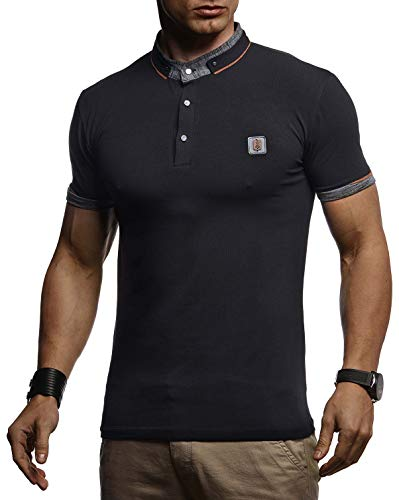 LEIF NELSON Herren Sommer T-Shirt Polo Kragen Slim Fit Baumwolle-Anteil | Basic schwarzes Männer Poloshirts Sweatshirt Kurzarm | Weißes Shirt Kurzarmshirts lang | LN4875 Schwarz Small -