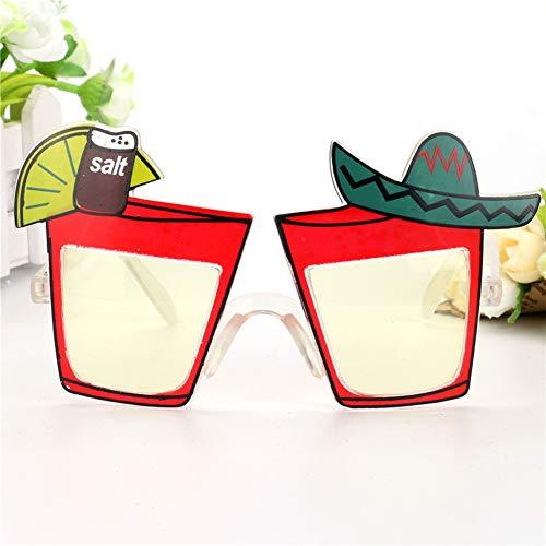 Unbekannt 1pc Mexikanischen Stil Partei Gläser Lustige Zitrone Saft Cocktail Wein Urlaub Strände Sunglasse Nacht Bar Club Dekoration Whit/Rot,A