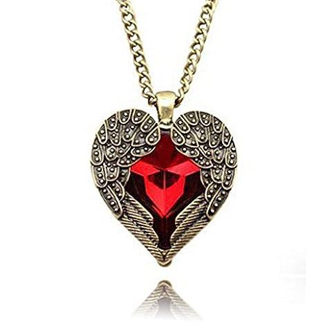 richbest Vintage gothique ailes Ruby Pêche sculpté–Collier Femme–Coeur rouge Love pour chaînes colliers pour