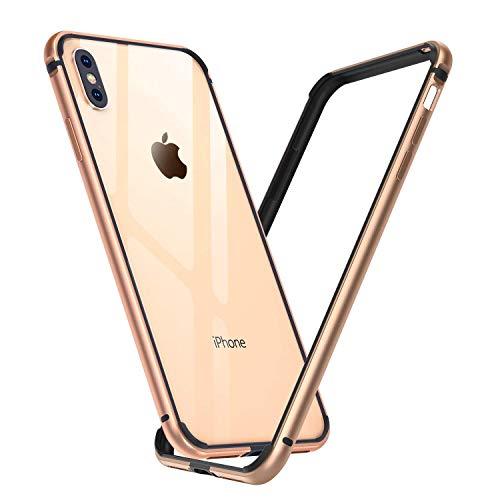 Arktis Hülle für iPhone XS, Hülle für iPhone X, AirZero Alu Bumper Rahmen - Champagner Gold kabelloses Laden möglich Aluminium Rahmen ultradünn federleicht