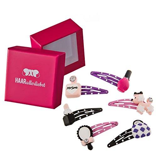 HAARallerliebst 6 Haarspangen Haarclips mit Einem Beauty Salon Set (Nagellack, Parfüm, Lippenstift, Handspiegel, Pudel und Handtasche) für Kinder Mädchen in Pinker Box