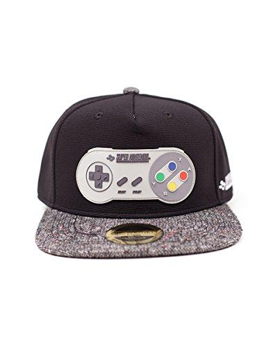 Meroncourt Super Nintendo Controller Rubber Patch Snapback Baseball cap, One Size, Multi-Colour (Sb097567Ntn Cappellino, Grey, Etichettalia Unica Unisex-Adulto