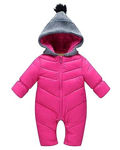 Minetom Baby Daunenjacke Strampler Winter Overall Säugling Schneeanzüge mit Kapuze Mädchen Jungen Spieler Rose (Hündchen-kostüm Für Kleinkind)