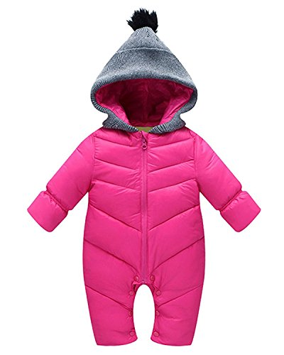 Minetom Baby Daunenjacke Strampler Winter Overall Säugling Schneeanzüge mit Kapuze Mädchen Jungen Spieler Rose 90cm (Hündchen Kostüm Für Kleinkinder)