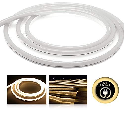 LEDU NeonFlex Pro230 warmweiß (Länge: 3m, 230V LED-Streifen, Neon-Flex LED-Stripe ohne Lichtpunkte, durchgängig Leuchtend, 9W/m, EEK: A, Anschluss: Eurostecker) -