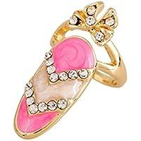 European Cute Finger Ring Anello Inlay Rhinestone Bowknot Nail Ring